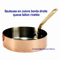 Sauteuse en cuivre De Buyer queue laiton